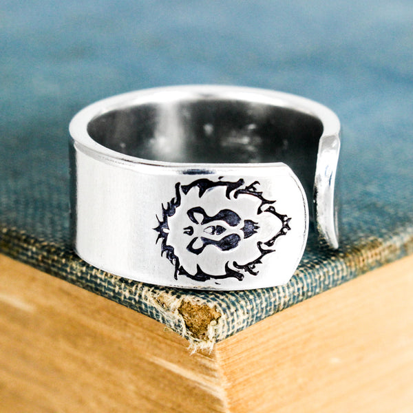 Alliance DPS Ring - World of Warcraft - Adjustable Aluminum Ring - It Came From the Internet