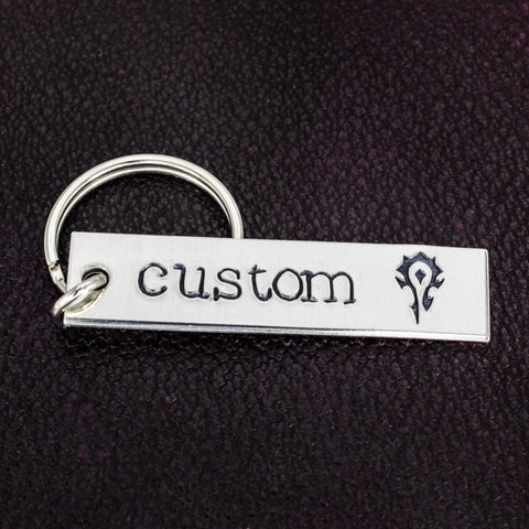 Custom Horde Keychain - World of Warcraft - Aluminum Key Chain - It Came From the Internet