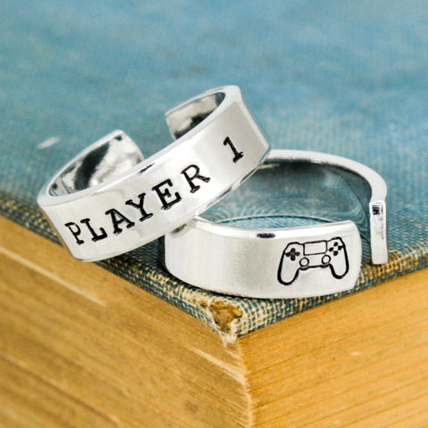 Player 1 & Player 2 Video Game Ring Set - PS4 - Gamer Gift - Best Friends - Adjustable Aluminum Rings - It Came From the Internet