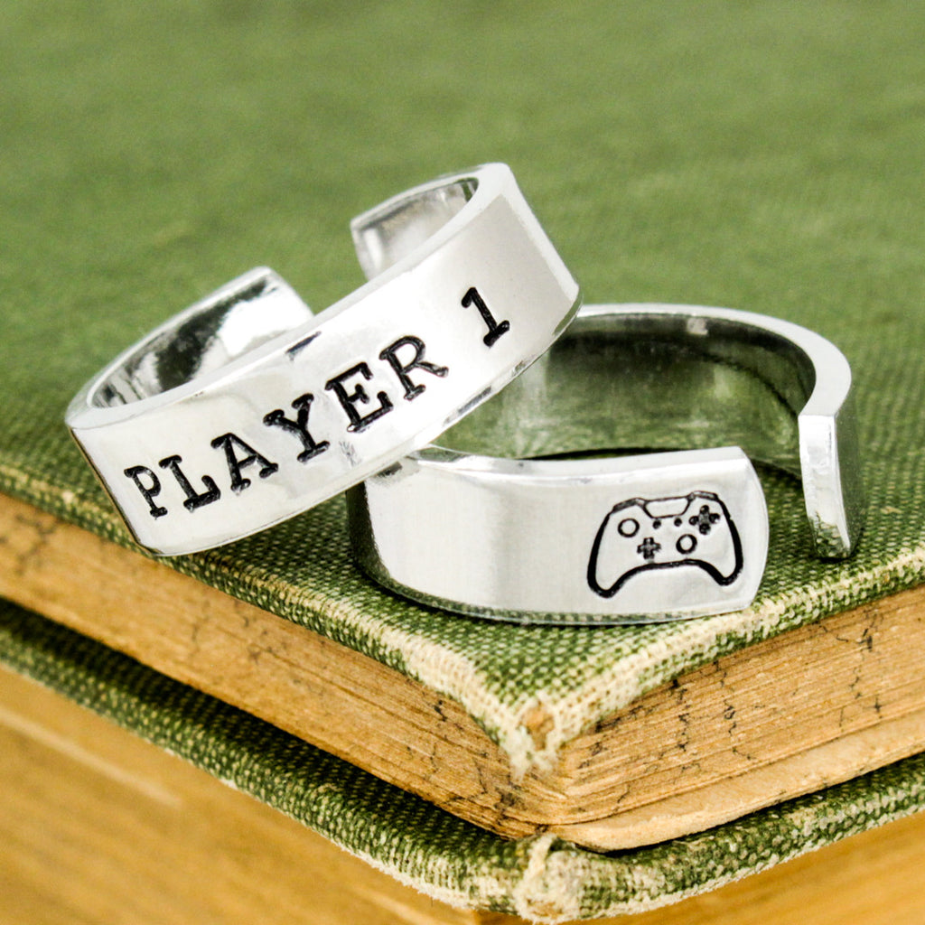 Player 1 & Player 2 Video Game Ring Set - Xbox One - Gamer Gift - Best Friends - Adjustable Aluminum Rings - It Came From the Internet