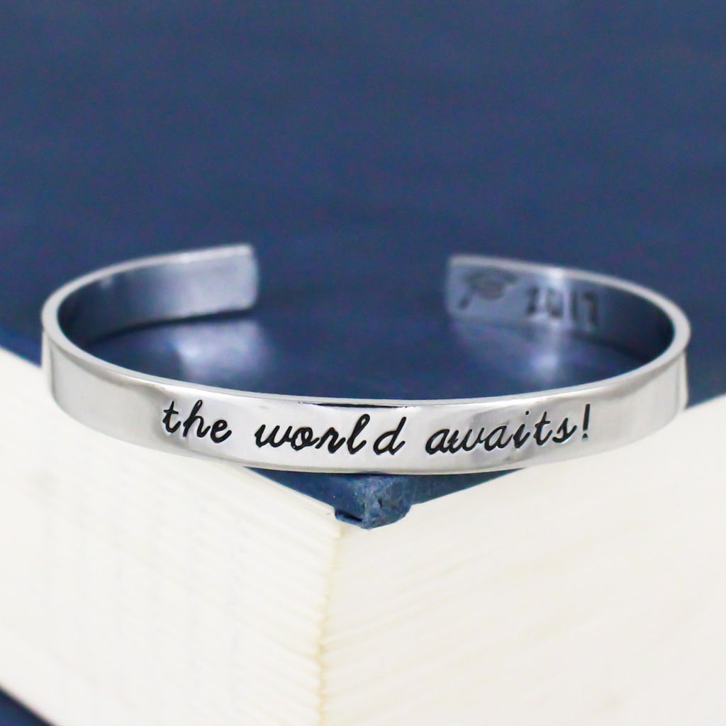 The World Awaits! Bracelet - Graduation Gift - Class of 2018 - Adjustable Aluminum Bracelet