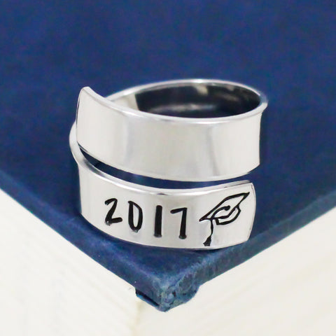 2017 Graduation Ring - Graduation Gift - Adjustable Aluminum Wrap Ring - It Came From the Internet