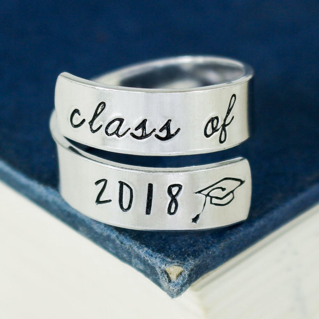 Class of 2018 Wrap Ring - Graduation Gift - Adjustable Aluminum Wrap Ring