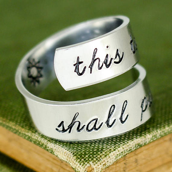 This Too Shall Pass Wrap Ring - Twist Ring - Affirmation Ring - Adjustable Aluminum Ring