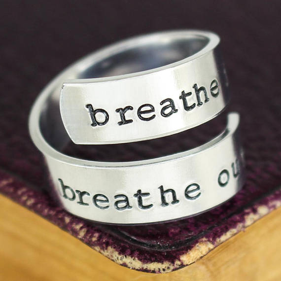 Breathe In Breathe Out Ring - Lotus Ring - Yoga Ring - Wrap Ring - Twist Ring - Affirmation Ring - Adjustable Aluminum Ring