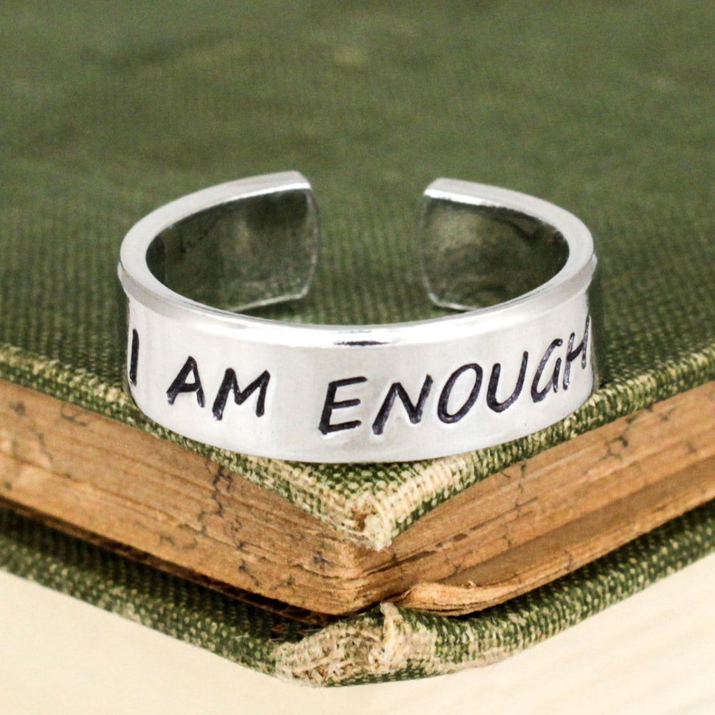 I Am Enough Ring - Inspirational Rings - Adjustable Aluminum Cuff Ring - It Came From the Internet