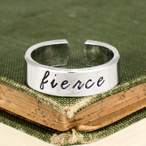 Fierce Ring - Inspirational Rings - Adjustable Aluminum Cuff Ring - It Came From the Internet