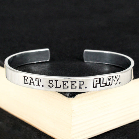 Eat. Sleep. Play. - Pixel Games - Video Games - Aluminum Bracelet - It Came From the Internet