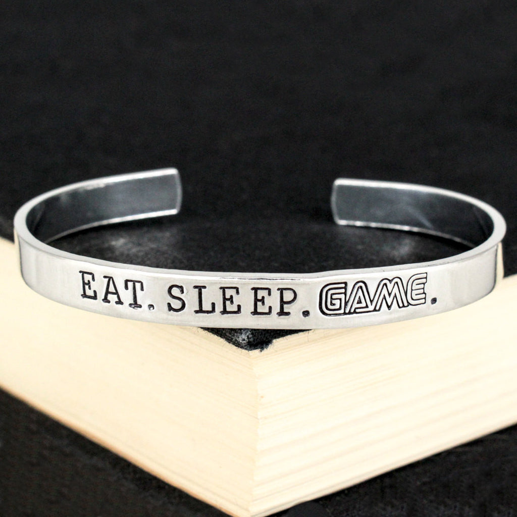 Eat. Sleep. Game. - Retro Games - Video Games - Aluminum Bracelet - It Came From the Internet