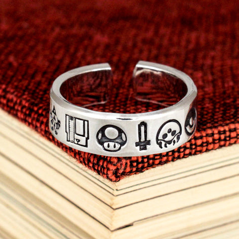 Nintendo Nostalgia Ring - Pokemon - 1UP - Zelda - Adjustable Aluminum Ring