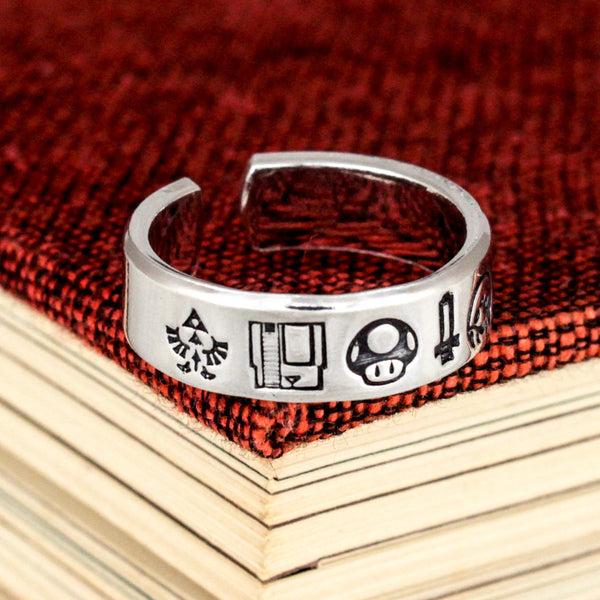 Nintendo Nostalgia Ring - Pokemon - 1UP - Zelda - Adjustable Aluminum Ring - It Came From the Internet