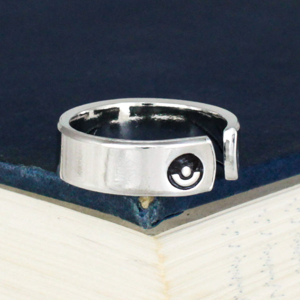 Team Mystic Ring - Pokeball - Video Game Jewelry - Adjustable Aluminum Cuff Ring