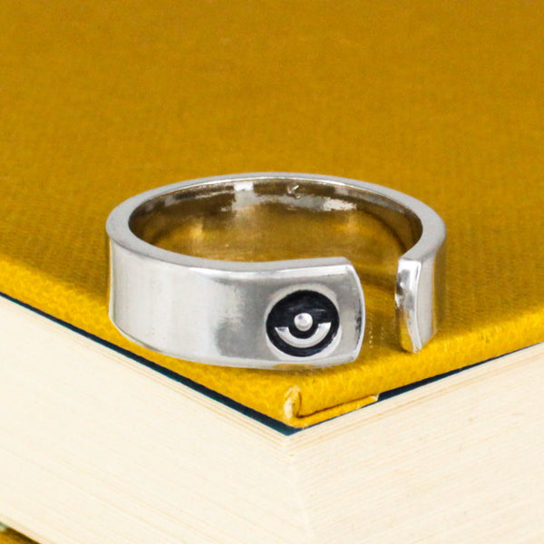 Team Instinct Ring - Pokeball - Video Game Jewelry - Adjustable Aluminum Cuff Ring