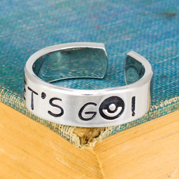 Let's Go! Ring - Pokeball - Video Game Jewelry - Adjustable Aluminum Cuff Ring - It Came From the Internet