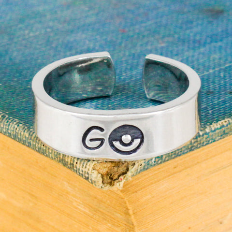 Go Ring - Pokeball - Video Game Jewelry - Adjustable Aluminum Cuff Ring - It Came From the Internet