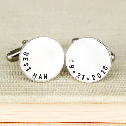 Best Man Custom Cuff Links - Groomsmen Gift - Personalized Wedding Date Cufflinks - Aluminum Cuff Links - It Came From the Internet