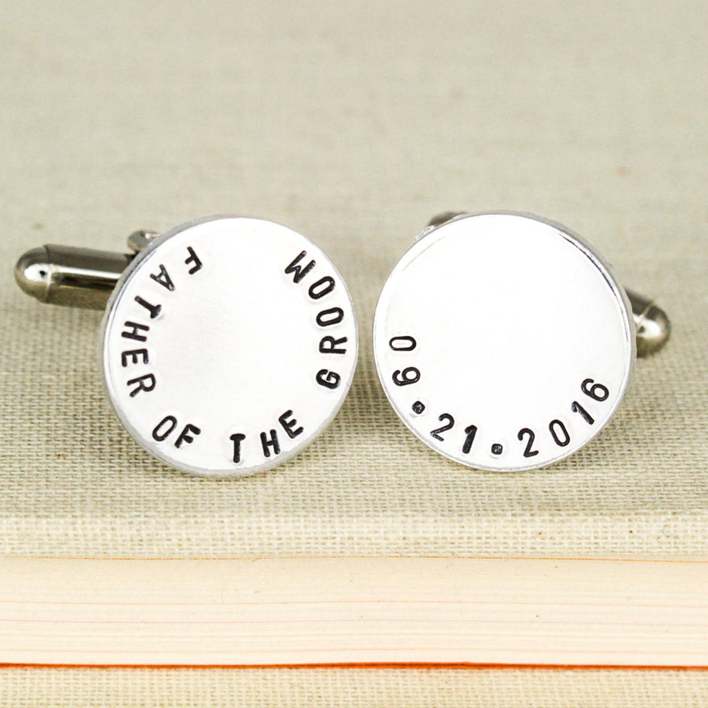 Father of the Groom Cuff Links - Gifts for Him - Custom Wedding Date Cufflinks - Aluminum Cuff Links - It Came From the Internet