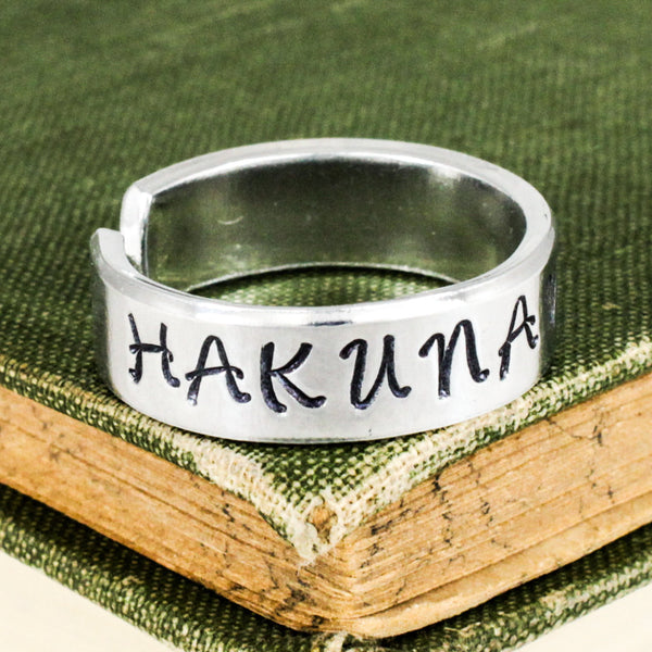 Hakuna Matata Ring - Heart - Adjustable Aluminum Cuff Ring - It Came From the Internet