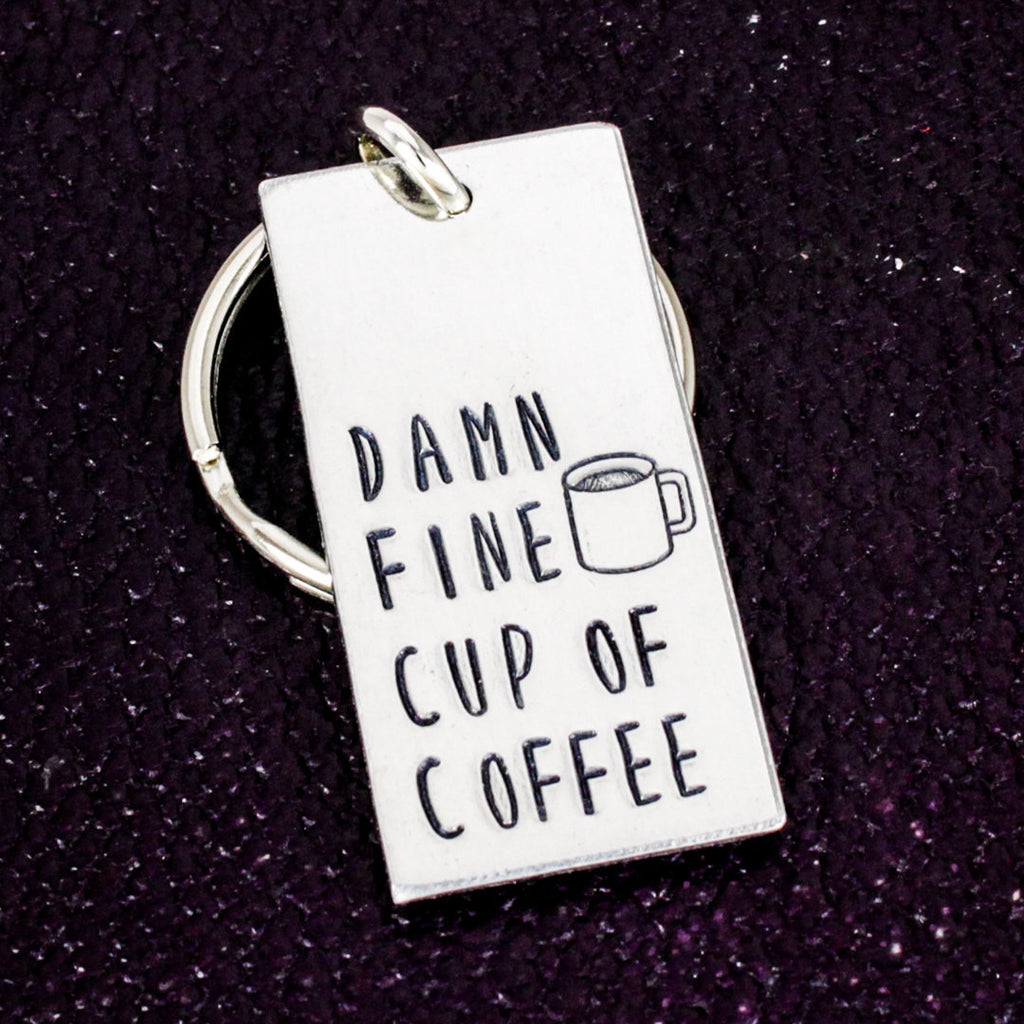 Damn Fine Cup of Coffee - Barista Gift - Aluminum Key Chain - It Came From the Internet