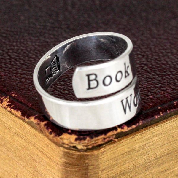 Book Worm Wrap Ring - Book Lover - Adjustable Aluminum Wrap Ring - It Came From the Internet