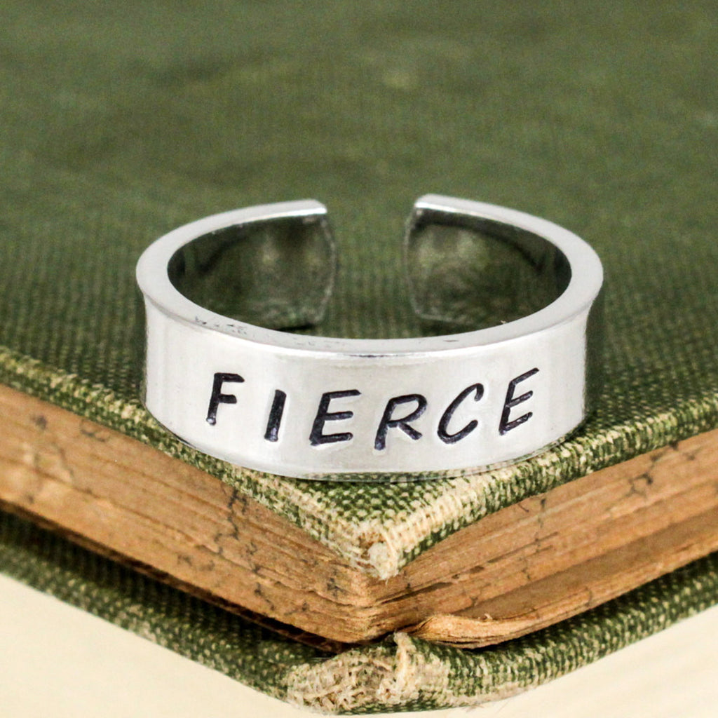 Fierce Ring - Inspirational Rings - Adjustable Aluminum Cuff Ring Style B - It Came From the Internet