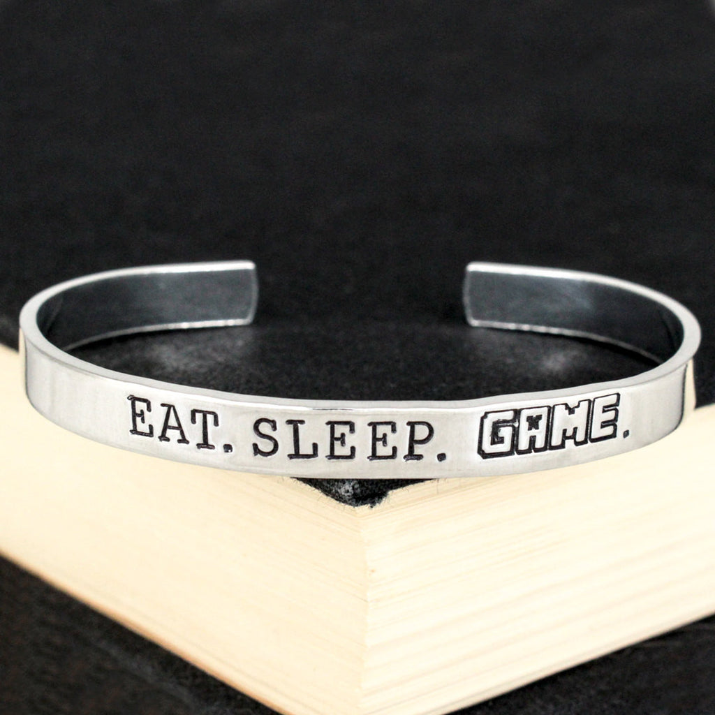 Eat. Sleep. Game. - Pixel Games - Video Games - Aluminum Bracelet - It Came From the Internet