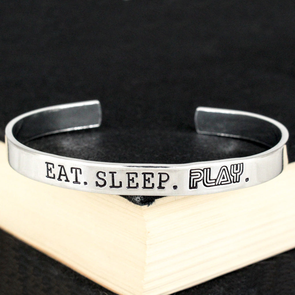 Eat. Sleep. Play. - Retro Games - Video Games - Aluminum Bracelet - It Came From the Internet
