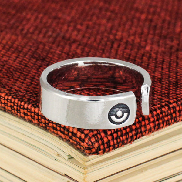 Team Valor Ring - Pokeball - Video Game Jewelry - Adjustable Aluminum Cuff Ring
