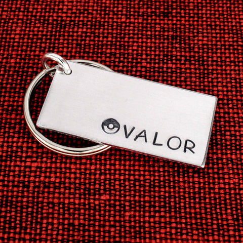 Team Valor Keychain - Pokeball - Video Games - Aluminum Key Chain
