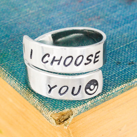 I Choose You - Pokeball - Adjustable Aluminum Wrap Ring - It Came From the Internet