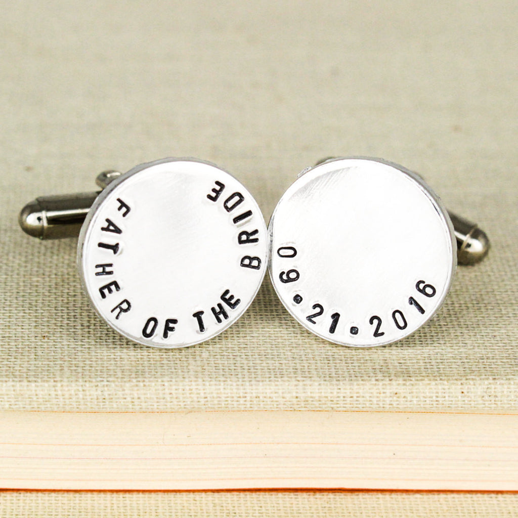 Father of the Bride Cuff Links - Gifts for Him - Custom Wedding Date Cufflinks - Aluminum Cuff Links - It Came From the Internet