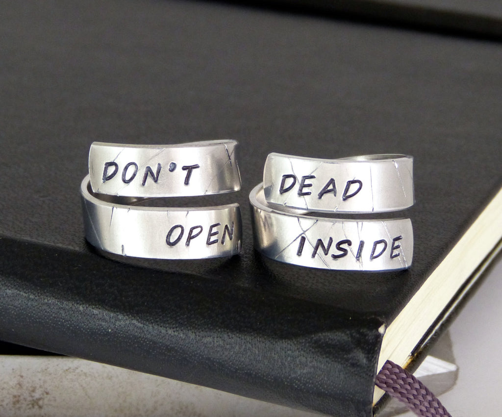 Don't Open Dead Inside - Zombies - Walking Dead Rings - Wrap Ring Set - It Came From the Internet