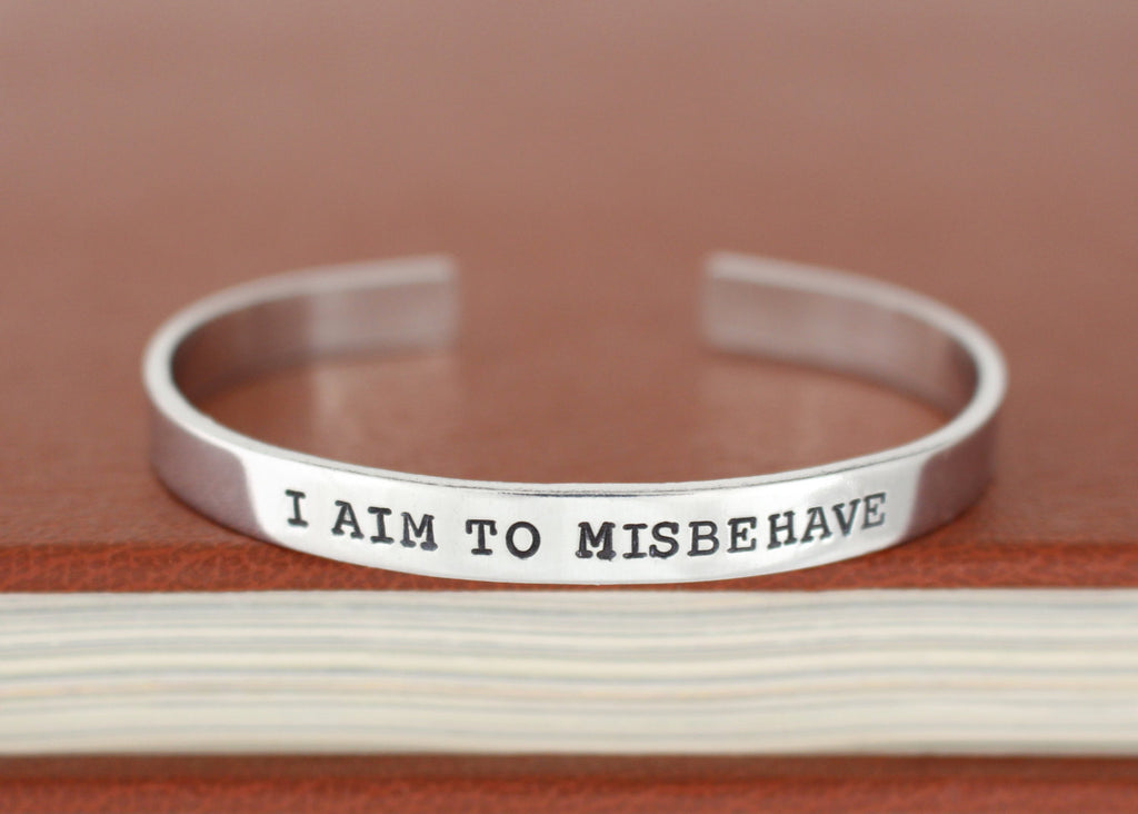 I Aim to Misbehave - Firefly - Adjustable Aluminum Bracelet - It Came From the Internet