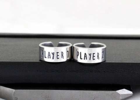 Player 1 & Player 2 Ring Set - Gamer Gift - Best Friends - Adjustable Aluminum Rings - Style B - It Came From the Internet