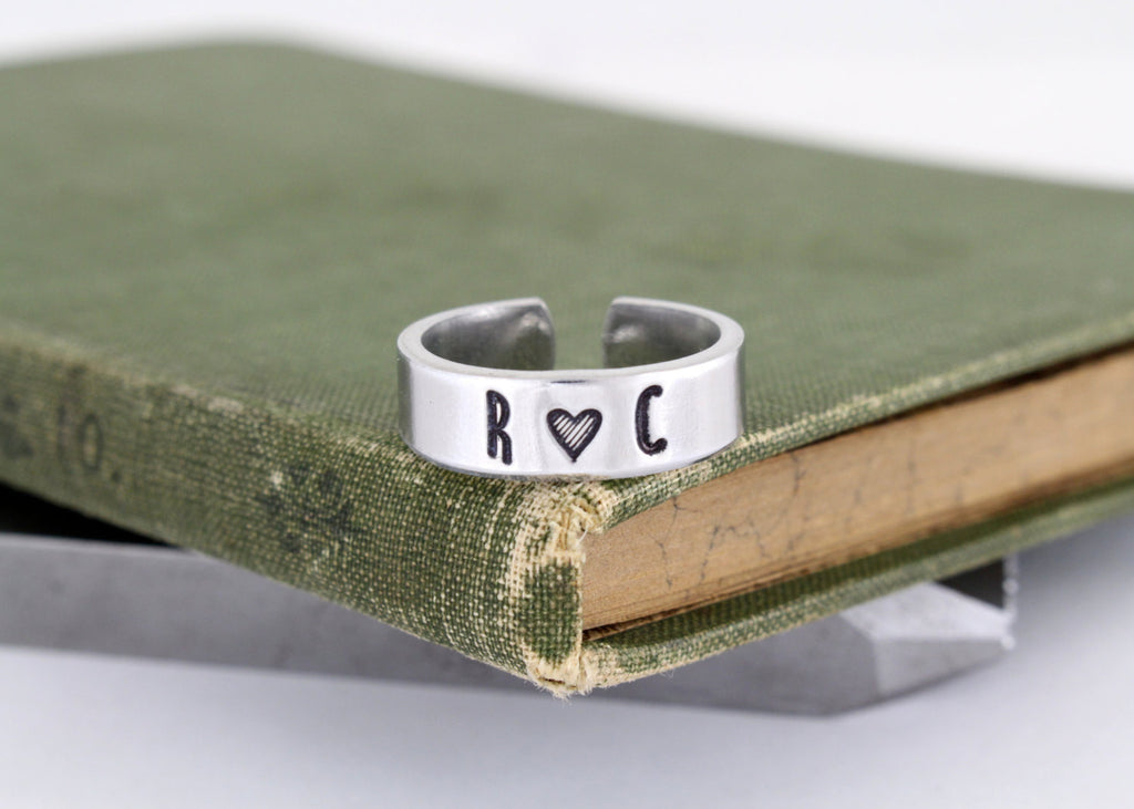 Custom Initials Ring - Couples Ring - Personalized Jewelry - Adjustable Aluminum Ring - It Came From the Internet