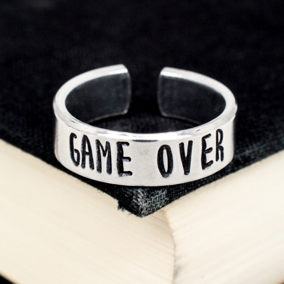 Game Over Ring - Video Game Jewelry - Adjustable Aluminum Cuff Ring - It Came From the Internet