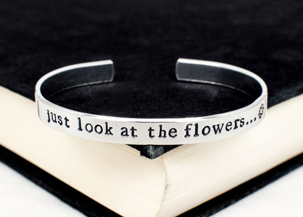 Just Look at the Flowers - The Walking Dead - Zombie - Adjustable Aluminum Bracelet Style B - It Came From the Internet