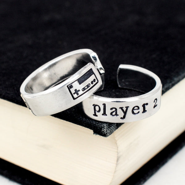 Player 1 & Player 2 Video Game Ring Set - Nintendo - Gamer Gift - Best Friends - Adjustable Aluminum Rings - It Came From the Internet