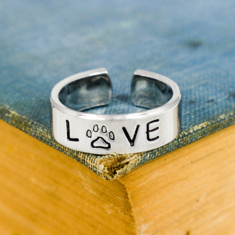 LOVE - Animal Rescue - Pets - Adjustable Aluminum Ring - It Came From the Internet