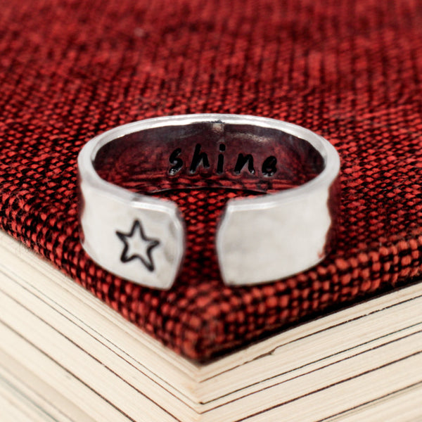Shine Ring - Secret Message Ring -  Affirmations - Aluminum Hand Stamped Ring