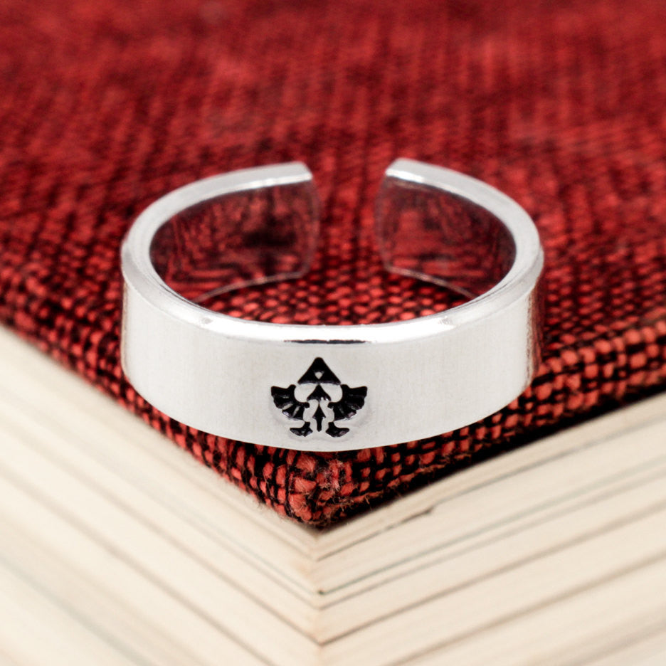 Triforce Eagle Ring - Zelda - Video Game Jewelry - Adjustable Aluminum Cuff Ring