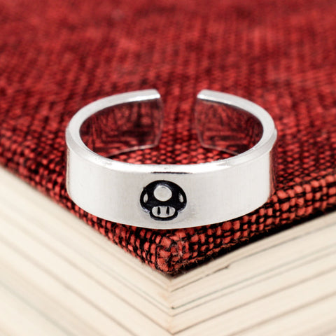 1UP Mario Mushroom Ring - Classic Gaming - Video Game Jewelry - Adjustable Aluminum Cuff Ring - It Came From the Internet