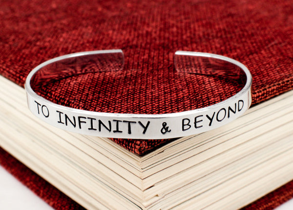 To Infinity and Beyond Bracelet - Rocket Ship - Stars - Aluminum Bracelet