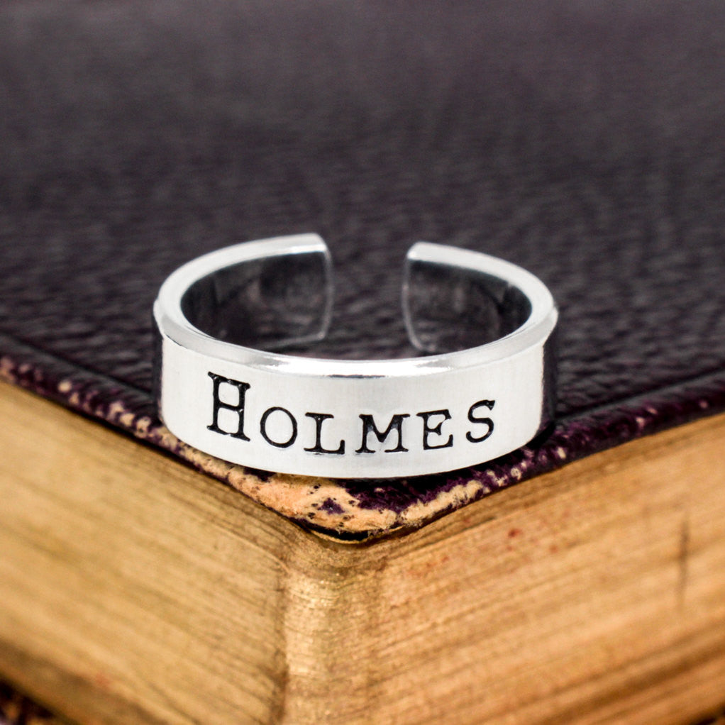 Holmes Ring - Sherlock - Adjustable Aluminum Cuff Ring - It Came From the Internet