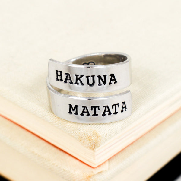 Hakuna Matata Ring - Heart - Adjustable Aluminum Wrap Ring B - It Came From the Internet