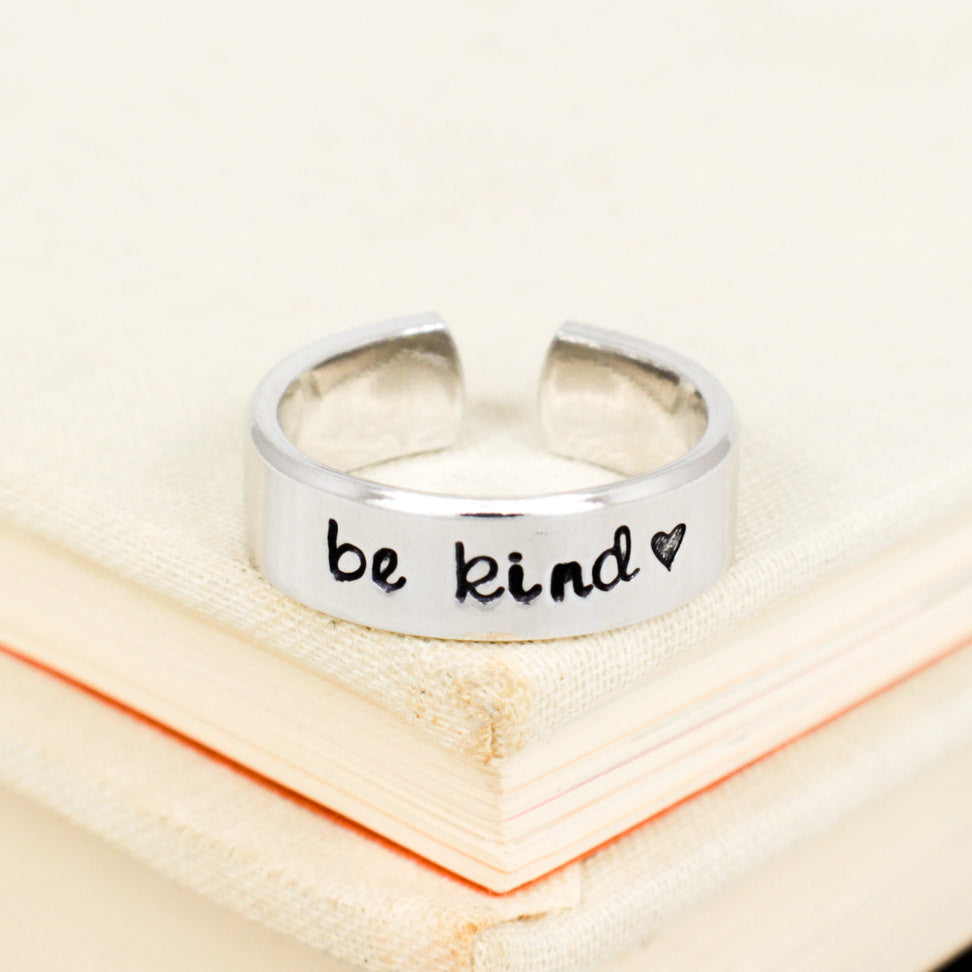 Be Kind Ring - Heart - Adjustable Aluminum Cuff Ring - It Came From the Internet