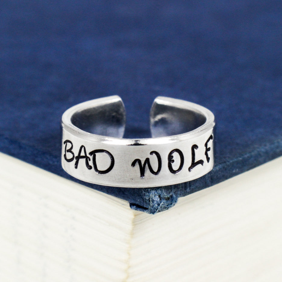 Bad Wolf - Doctor Who - Adjustable Aluminum Ring - It Came From the Internet