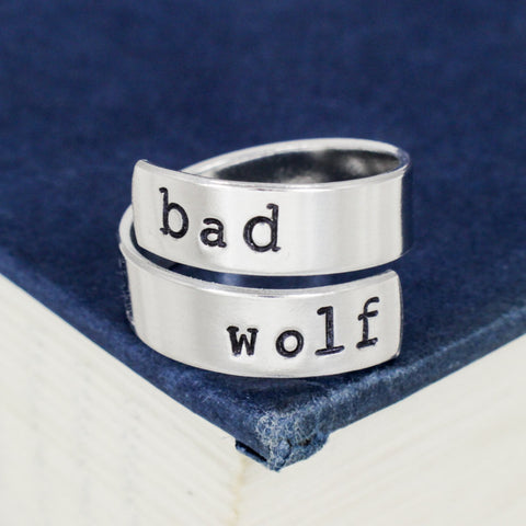 Bad Wolf - Doctor Who - Adjustable Aluminum Wrap Ring - It Came From the Internet