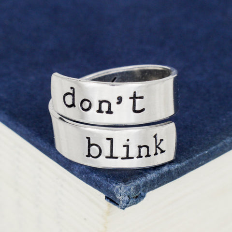 Don't Blink - Doctor Who - Adjustable Aluminum Wrap Ring - It Came From the Internet