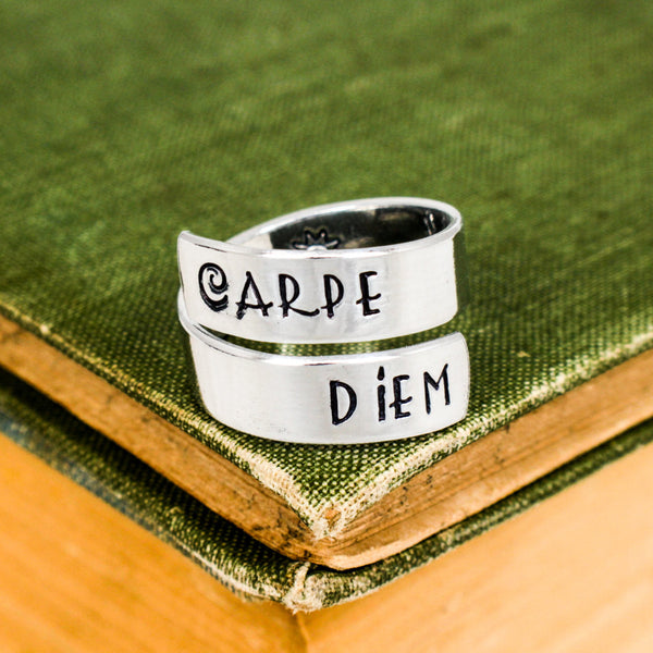 Carpe Diem Ring Style B - Sun - Adjustable Aluminum Wrap Ring - It Came From the Internet